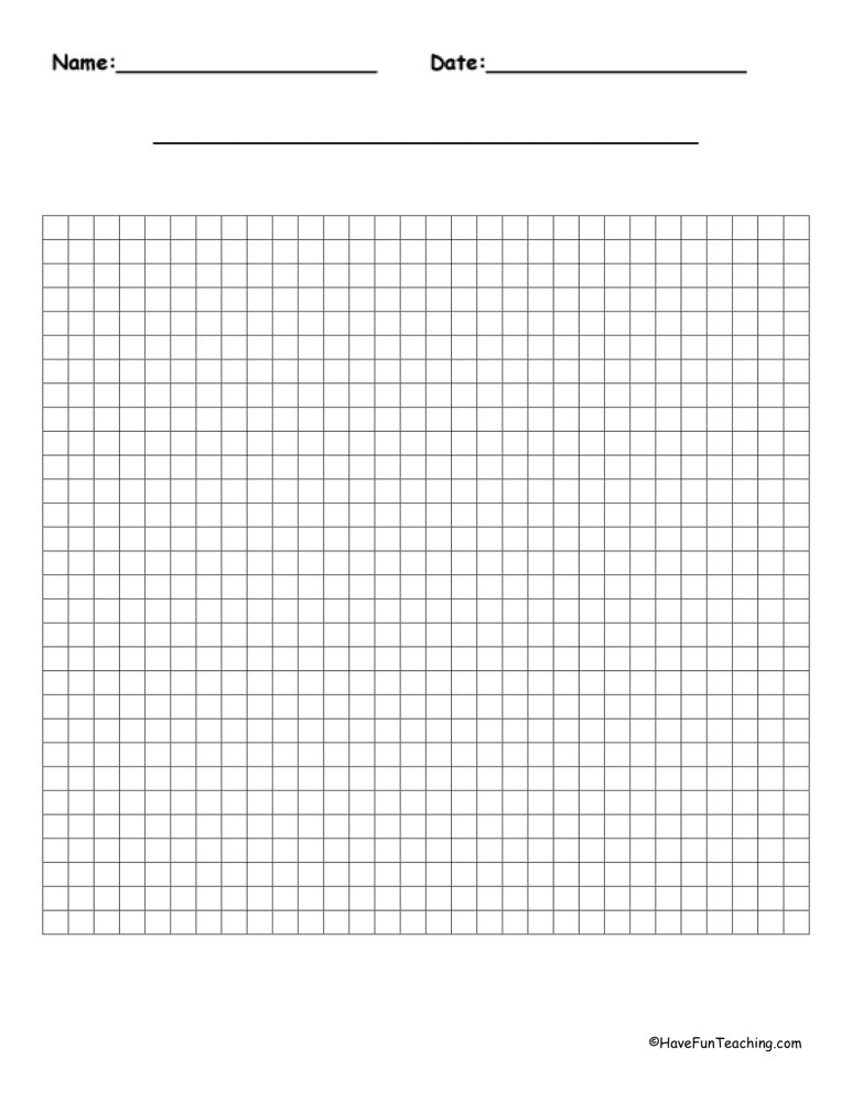30 By 30 Blank Graph Paper Have Fun Teaching
