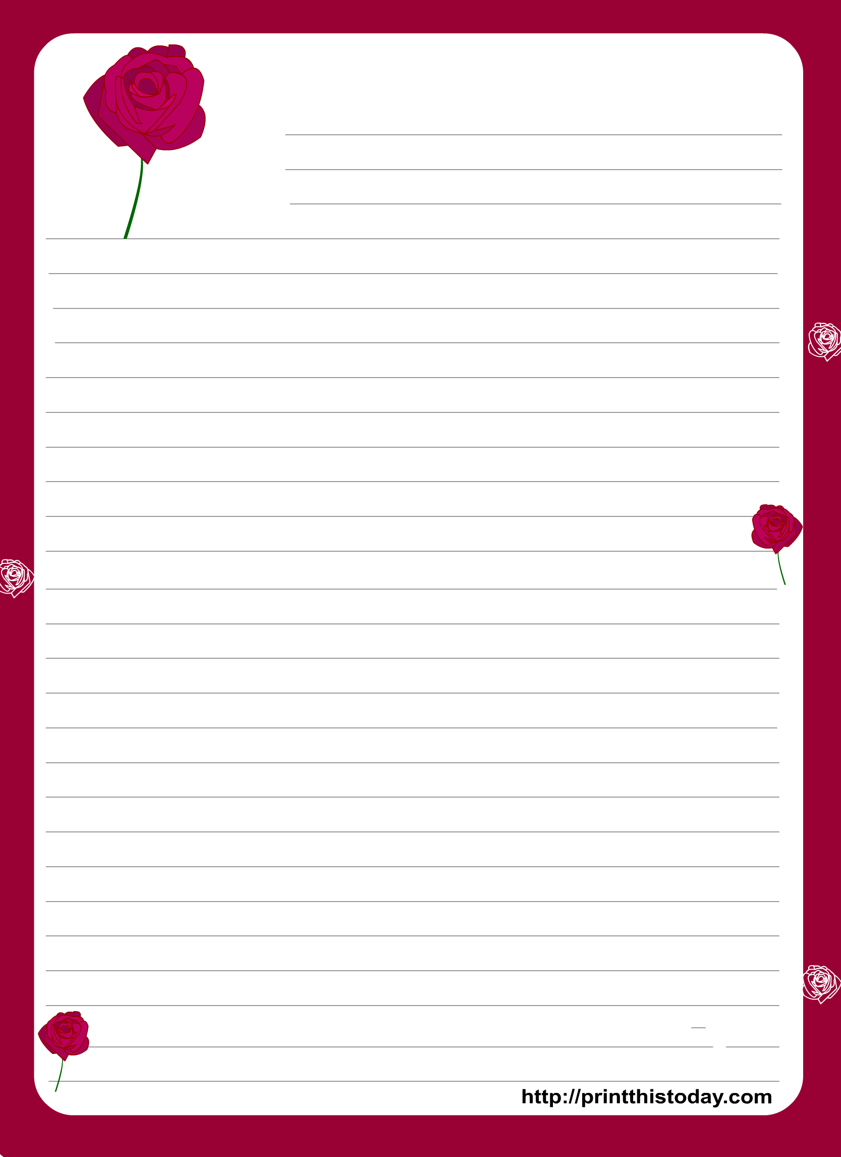 A Cute Letter Writing Paper Decorated With Cute Hearts Is