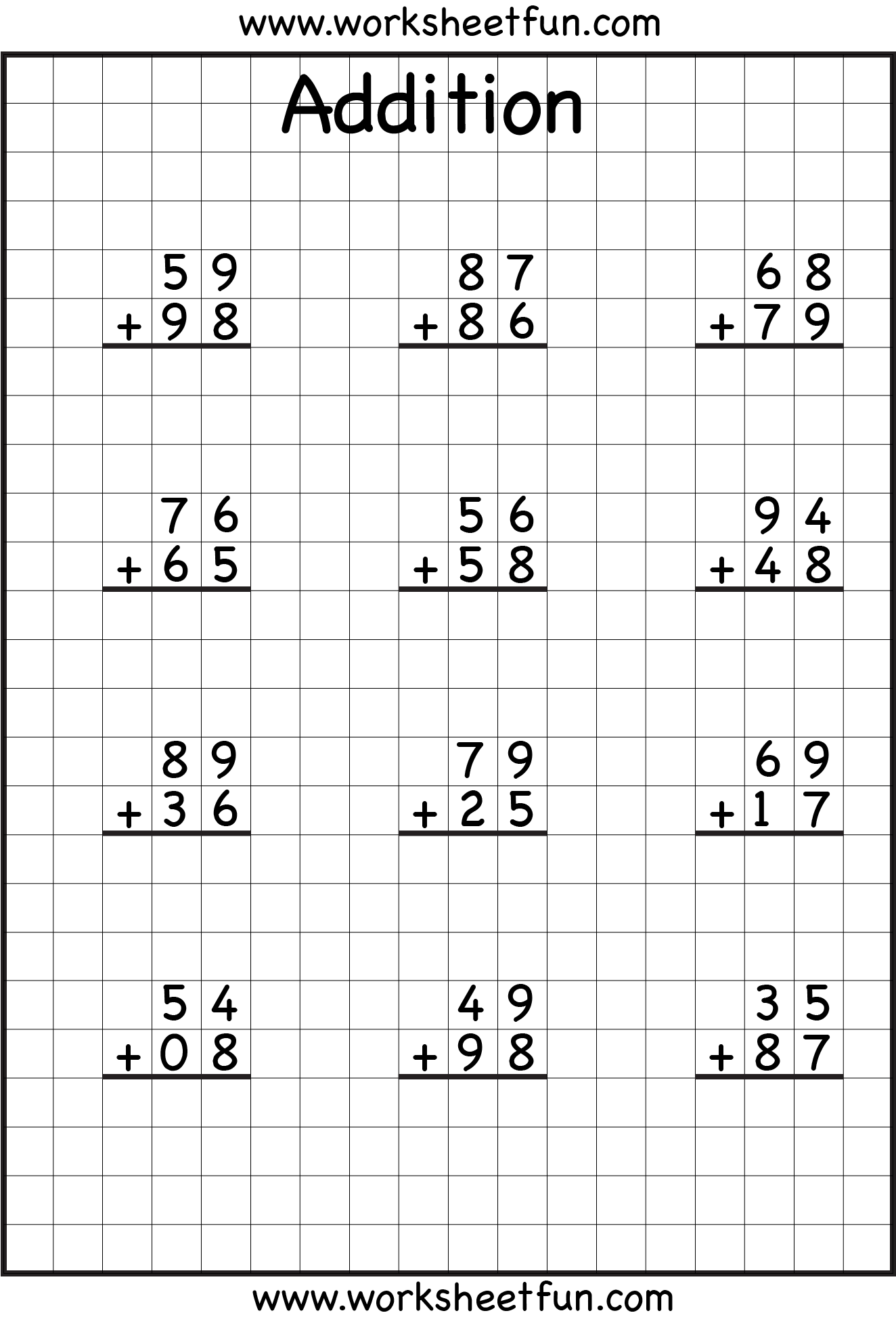 Addition Regrouping Math Worksheets Addition With