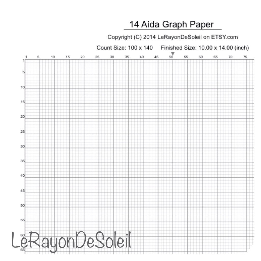 Aida 14 Cross Stitch Graph Paper Grid Template By