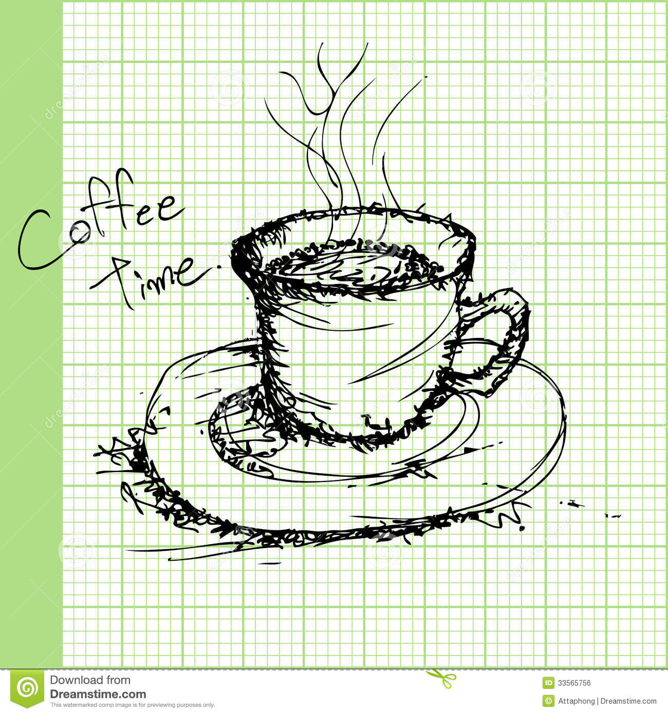Draw Sketches Of Coffee On Graph Paper Vector Royalty Free