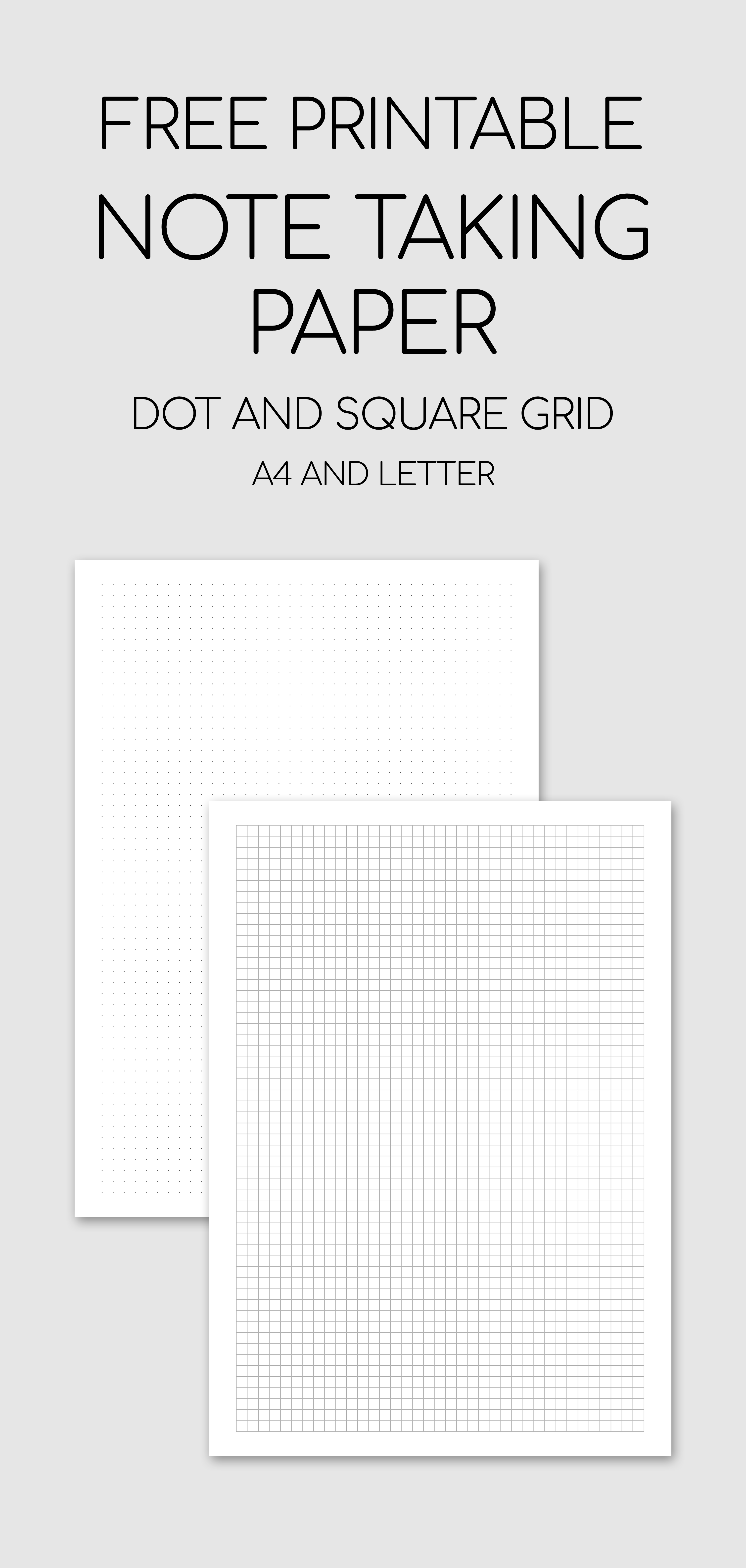Free Printable Note Taking Paper Dot And Square Grid