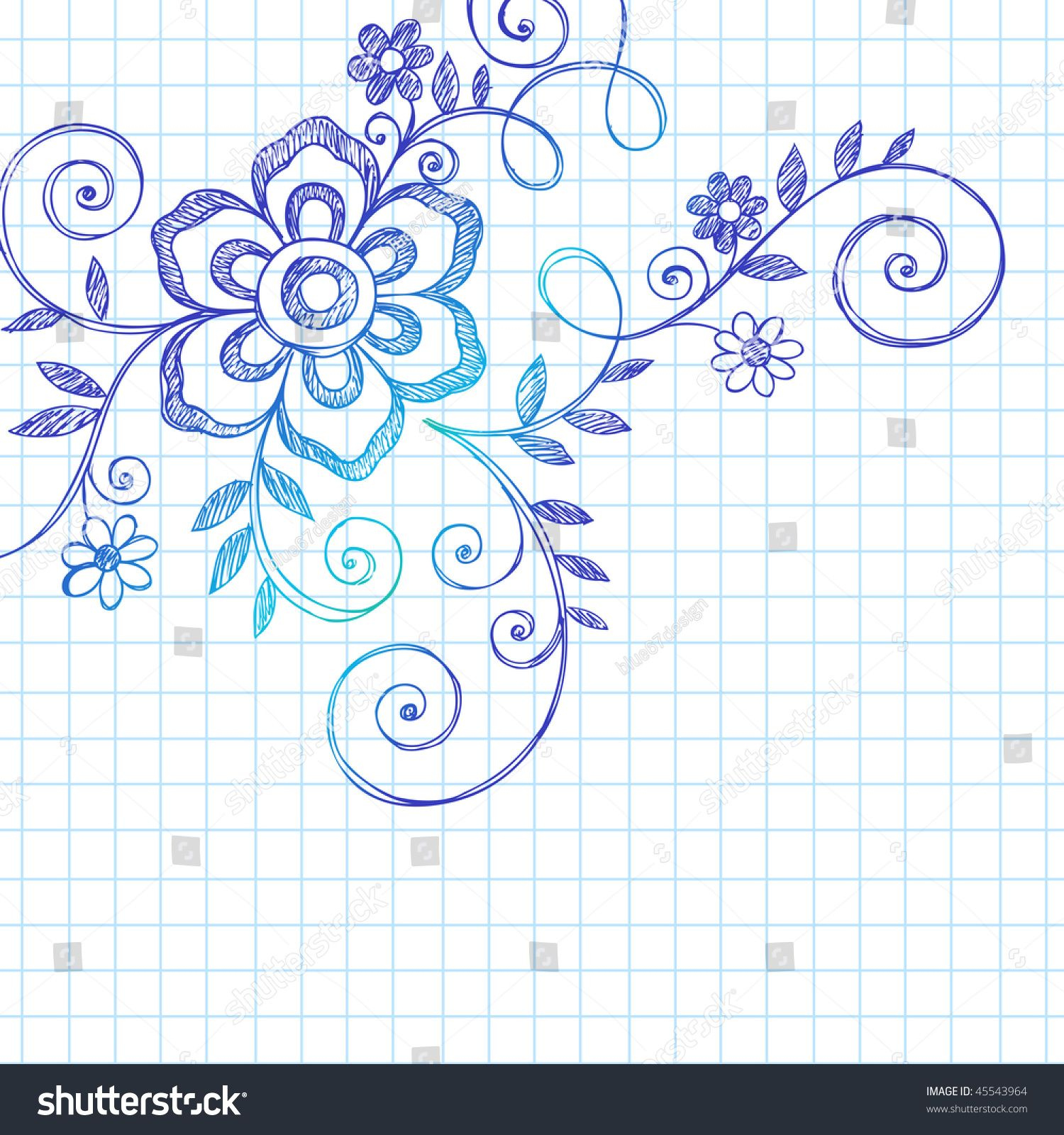 Hand Drawn Abstract Flower And Vines Sketchy Notebook