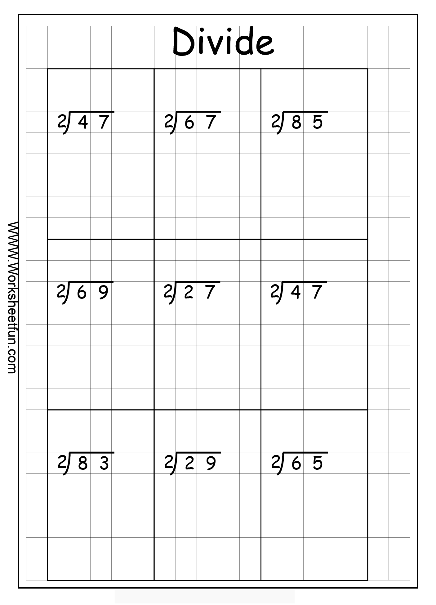 Long Division 2 Digits By 1 Digit With Remainder 8