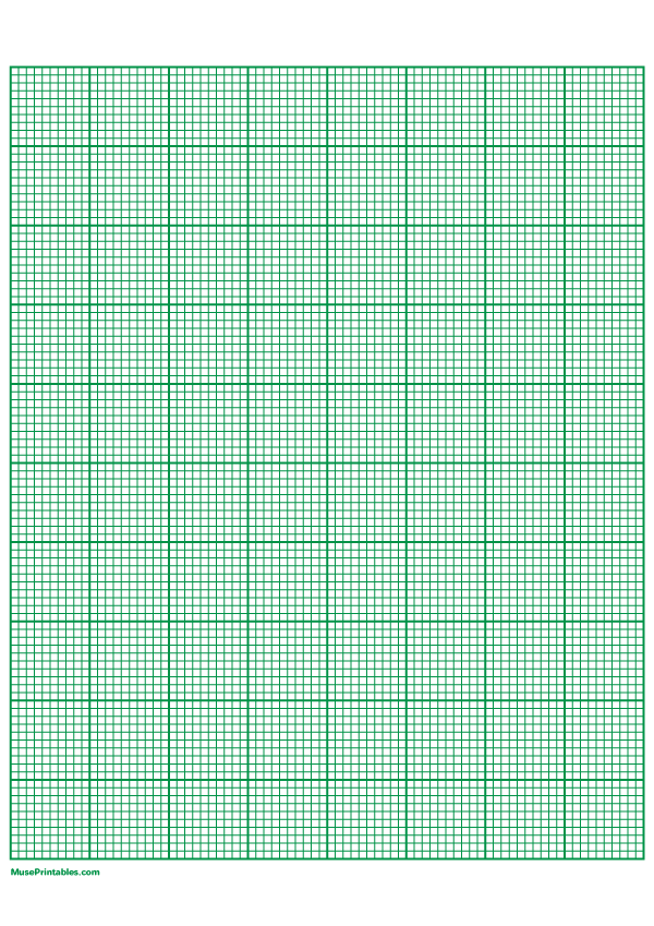 Printable 10 Squares Per Inch Green Graph Paper For A4 Paper
