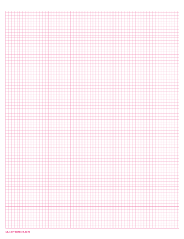 Printable 14 Squares Per Inch Pink Graph Paper For Letter