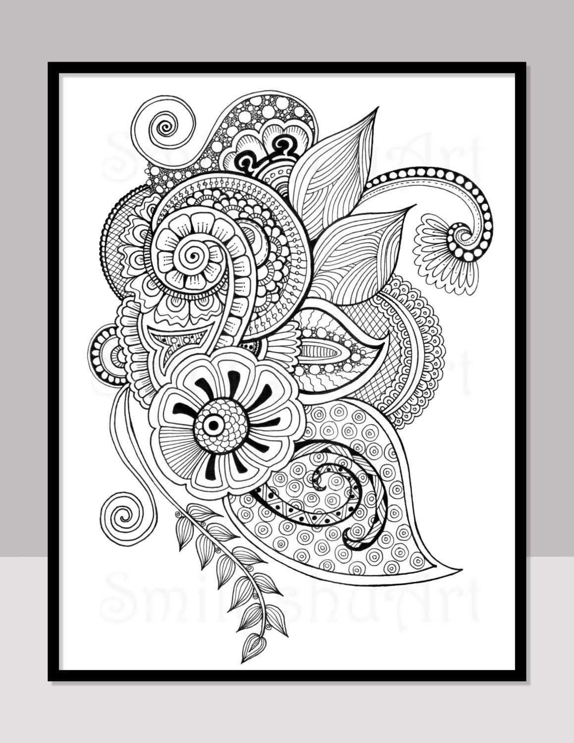 Printable Zentangle Coloring Page For Adults Mindfulness