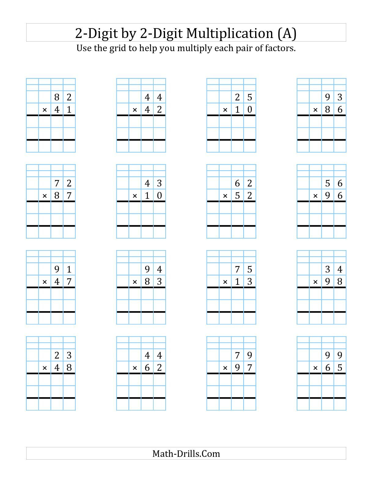 The 2 Digit By 2 Digit Multiplication With Grid Support A