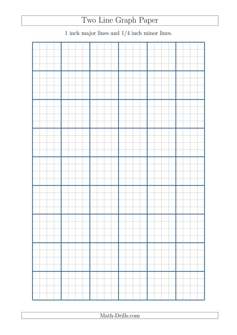 Two Line Graph Paper With 1 Inch Major Lines And 1 4 Inch