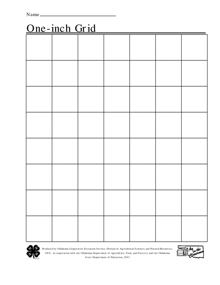 One Inch Square Printable Graph Paper